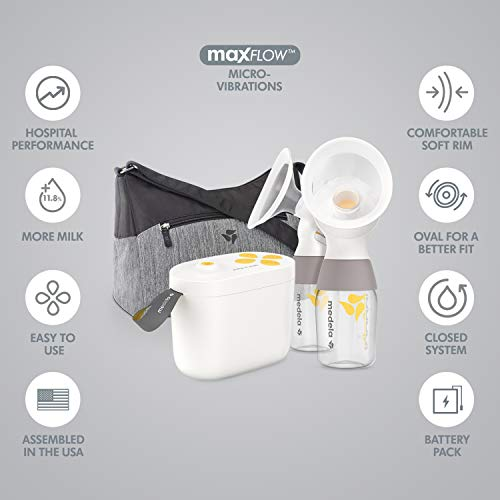 41pzgt8E8KL - New Medela Pump In Style With MaxFlow, Electric Breast Pump Closed System, Portable Breastpump, 2020 Version