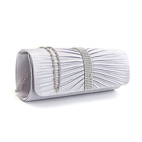 à sac Designer Sac dames de mariage soirée de Party Satin main à Femmes main Argent d'embrayage Diamante qIFITxX