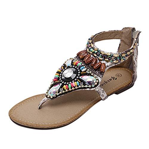 De Vintage Sandales Pour À Chevrons Plates Plage Dames Perlées Beige Bohémiennes 8P1pqC