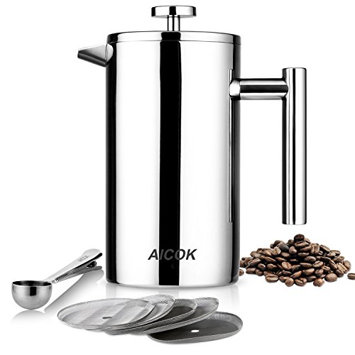 Aicok French Press Coffee Maker, Double Wall Stainless Steel Coffee Press, 8-Cup Tea Press with 5 Bonus Screens and Scoop, 34 oz / 1L