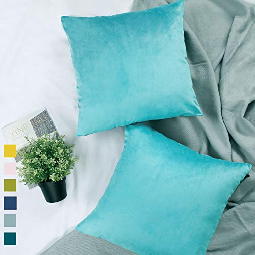 Aqua Velvet Pillow Covers 18x18 Cyan Pillow Covers Turquoise Set of 2 Light Teal Throw Pillow Covers Soft Couch Accent Pillow Cover Sofa Pillow Cases Living Room 2 Pack Aquamarine Bright Colored