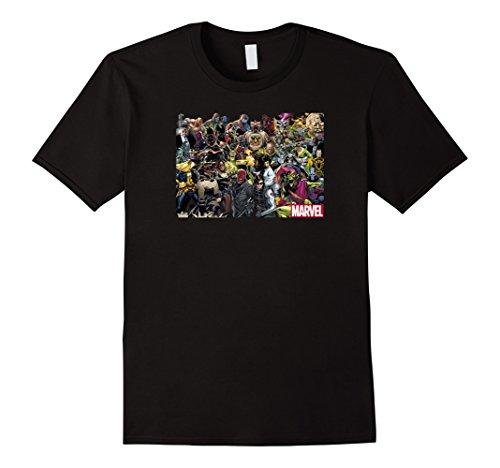 Mens Marvel Villain Collage Graphic T-Shirt Large Black -