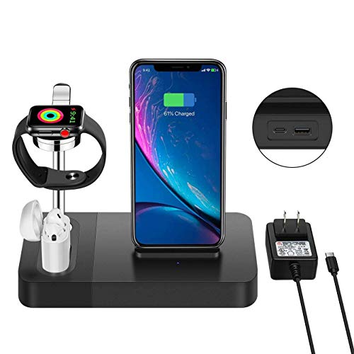 3-in-1 Wireless Charger Station For Apple Watch Stand ,Apple Airpods Charger ,7.5W Wireless Charging Dock and Phone Holder Compatible iphone X XS 8 plus etc. (Included AC Power Adapter )