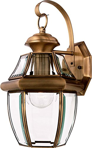 - Quoizel NY8316A Newbury Outdoor Wall Lantern Wall Mount Lighting, 1-Light, 150 Watt, Antique Brass (14