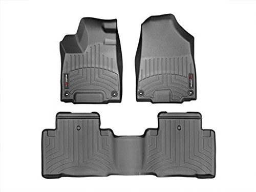 (2014 - 2015 Acura MDX - WeatherTech Custom Floor Mats Liners - Full Set Black Front & Rear)