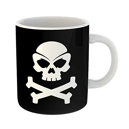 Emvency Coffee Tea Mug Gift 11 Ounces Funny Ceramic Crossbones Pirate Skull Black Bones Brain Gifts For Family Friends Coworkers Boss Mug]()