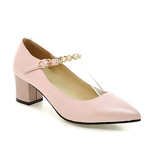 Amoonyfashion Womens Spitse Gesloten Teen Gesp Pu Stevige Kitten Hakken Pumps-schoenen Roze