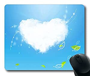 Cloud Heart Gaming Mouse Pad Personalized Hot Oblong Shaped Mouse Mat Design Natural Eco Rubber Durable Computer Desk Stationery Accessories Mouse Pads For Gift - Support Wired Wireless or Bluetooth Mouse