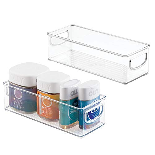 mDesign Stackable Plastic Storage Bin Caddy with Handles - Organizer for Vitamins, Supplements, Serums, Essential Oils, Medical and First Aid Supplies - 3 High, 2 Pack - Clear