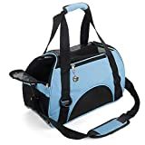 MisteSun Cat Carrier,Soft-Sided Pet Travel Carrier for Cats,Dogs Puppy Comfort Portable Foldable Pet Bag Airline Approved (Small, Blue)