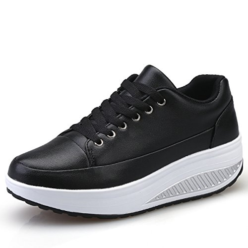 JARLIF Women's Shape Ups Leather Walking Sneakers - Comfortable Lace-up