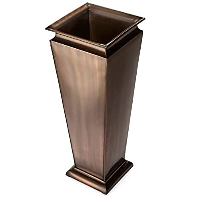 H Potter Tall Outdoor Planter Copper Large Flower Pots Indoor for Patio Balcony Garden Deck Front Porch Entryway : Garden & Outdoor