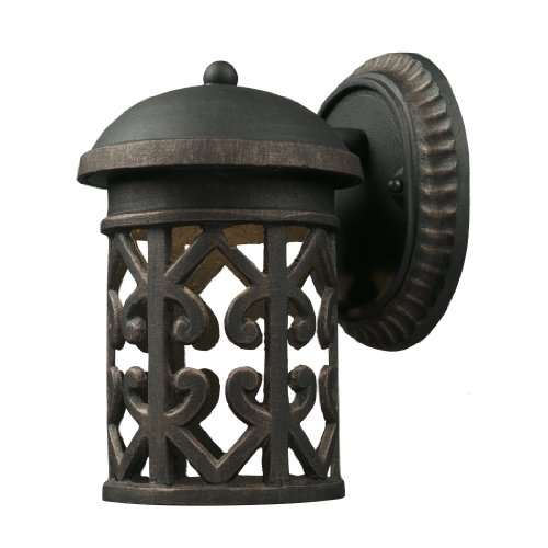 Weathered Cast - ELK 42365/1, Tuscany Coast Cast Aluminum Outdoor Wall Sconce Lighting LED, Weathered Charcoal