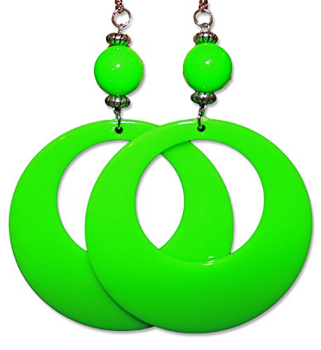 (Neon Fluorescent Large Retro Hoop Dangle Costume Earring (Neon Green))