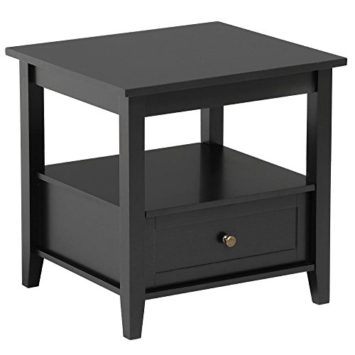 - Topeakmart Black End Table with Bottom Drawer and Open Storage Shelf for Living Room Sofa Side Table