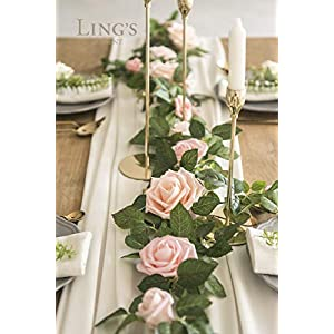 Ling's moment 5FT Handcrafted Artificial Rose Flower Runner Rustic Flower Garland Floral Arrangements Wedding Party Table Decoration Garland 2