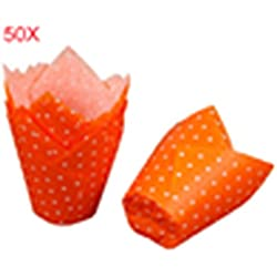 50pcs/lot Tulip Muffin Wraps with Dots Paper Cupcake Liners for Wedding Party Patty Cases Baking Tools Cup Cake Liner Secologo (orange)