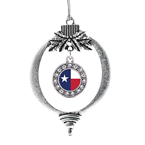 Inspired Silver - Texas Flag Charm Ornament - Silver Circle Charm Holiday Ornaments with Cubic Zirconia Jewelry