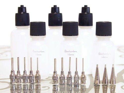 Beachcombers! Glue, Paint, Gel, Paste, Henna Applicator Squeeze Bottle Set, 8 Fine Metal Tips, 3 1oz & 1/2oz Bottles