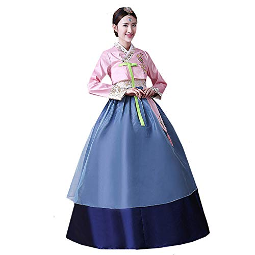 Dress Korean Traditional - XINFU Women Korean Traditional Long Sleeve Hanboks Dancing Dress Cosplay Costume
