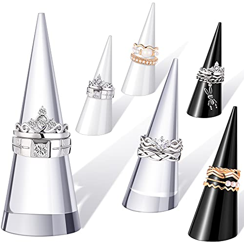 Soportes de anillos en acrilico negro y transparente 6un