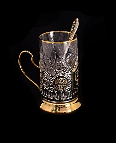 Russian Federation Coat of Arms Gold Plated Classic Russian Tea Glass Metal Holder / Podstakannik for Hot or Cold -