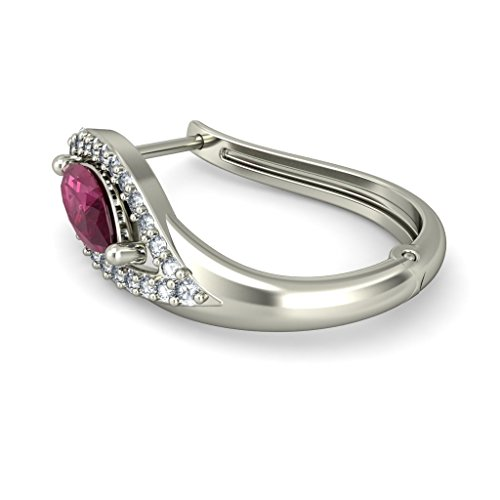 14K Or blanc 0,26CT TW White-diamond (IJ | SI) et rubis Boucles d'oreilles créoles