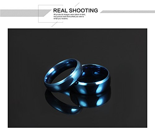 Fate Love Stainless Steel Our Love Pure as The Sea Noble Ocean Blue Couple Rings Wedding Band,New Box by Fate Love (Image #2)