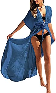 Bsubseach Women Long Beach Kimono Cardigan Open Front Bikini Swimsuit Cover Up