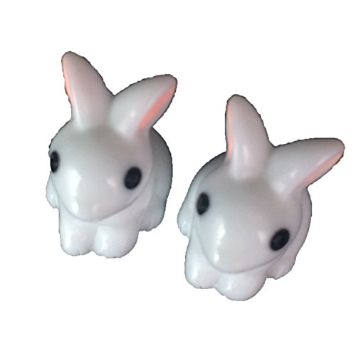 0.9 inch height 2 Cute Mini White Rabbits Bunnies Statue Miniature Garden Fairy Gardens Doll House Cake Topper Resin Decoration For Sale