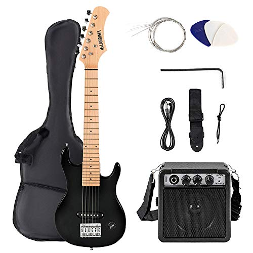 LAGRIMA 30 Inch Electric Guitar Starter Kit with 5W Amp, Case and Accessories Pack Beginner Starter Package (30, Black)