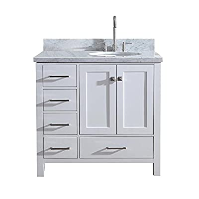 "ARIEL 37"" Inch Bathroom Vanity in White with Carrara White Marble Counter-top 