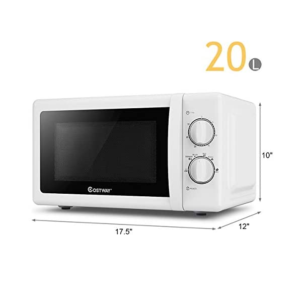 COSTWAY Retro Countertop Microwave Oven, 0.7 Cu. Ft, 700W Mechanical Compact Microwave Oven 6 Micro Power Settings… 6