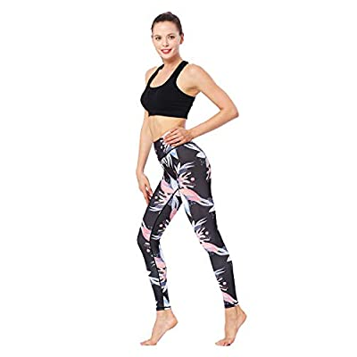 HYB Pantalones de Yoga para Mujeres - Cintura Alta Impreso Leggings de Entrenamiento Control de la Panza Ropa Deportiva Hielo Flor L (Color : Ice Flower, Size : S): Hogar