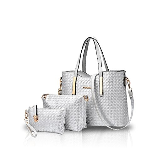 Handbag Shoulder Bag Bag Leather Crossbody Silver Tote Purse Nicole Soft Fashion PU Silver amp;Doris 3pcs Inxq8wEZ