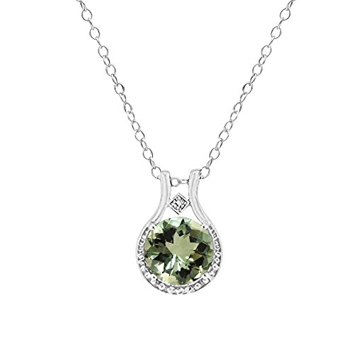 Green Amethyst Diamond Necklace - Voss+Agin Ladies Genuine Diamond and Green Amethyst Halo Pendant (3.00 CTW) in Sterling Silver, 18'' Chain w/Spring Clasp