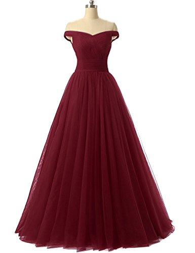 Duraplast Women's Off Shoulder Prom Dress Tulle Princess Evening Gown US4 Burgundy (Gown Tulle Prom)