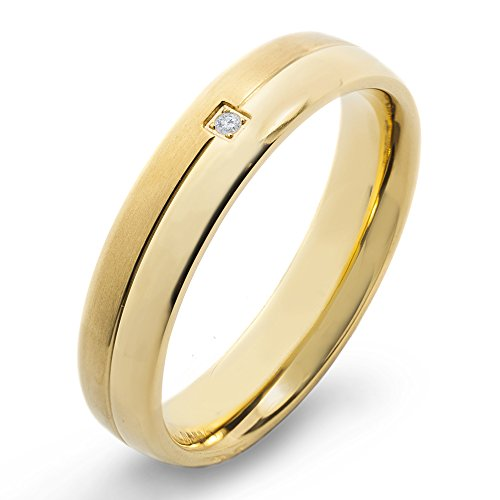 West Coast Jewelry | Crucible Gold Plated Titanium and 0.02 CTW Diamond Dual Finished Grooved Band (H-I, SI2) - Size 9