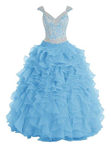 Dresstells®Vestido De Princesa Fiesta Largo De Organdí Escote En Pico Con Cuentas Azul