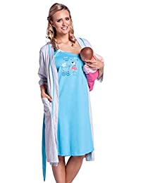 Happy Mama. Womens Maternity Hospital Gown Robe Nightie Set Labour & Birth. 301p