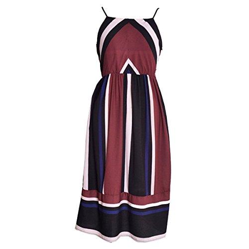 Femme Ray Robe Longue sans Manches Basique Vintage Robe De Plage Red