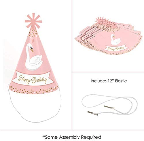 Swan Soiree - Cone Happy Birthday Party Hats for Kids and Adults - Set of 8 (Standard Size)