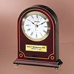 Personalize Articular Gold Border Arch Cherry Wood Desk Clock with Gold Foot. Unique Employee Recognition Service Award Retirement Wedding Gift