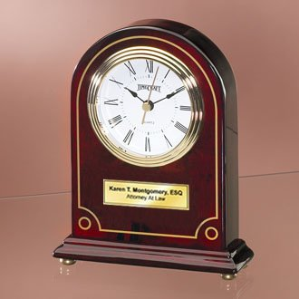(Personalize Articular Gold Border Arch Cherry Wood Desk Clock with Gold Foot. Unique Employee Recognition Service Award Retirement Wedding Gift)