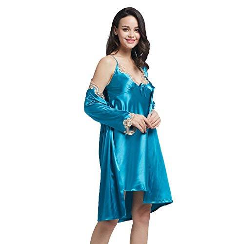 Betrothales Azul Dos Tela Verano Pijamas Camisones Manga Primavera Piezas 5050 De Camisón Ropa Larga Seda Noche Encaje Simulación Señoras rZrqwgU