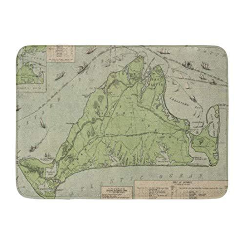 (cross ctA Bath Mat Massachusetts Vintage Map of Marthas Vineyard Old Bathroom Decor Rug)