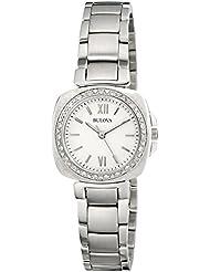 Bulova Womens 96R200 Diamond Gallery Analog Display Japanese Quartz White Watch