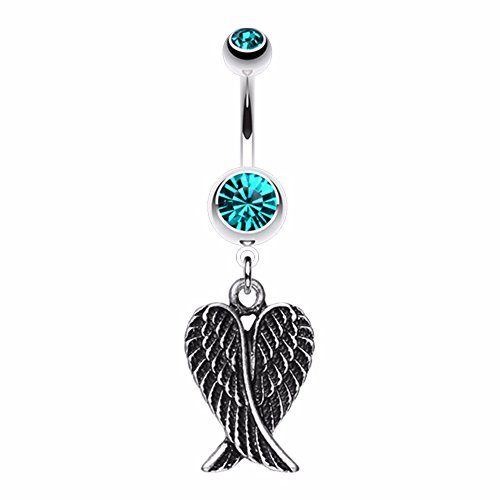 Angel Wing Heart WildKlass Belly Button Ring (Angel Dangle Belly Ring)