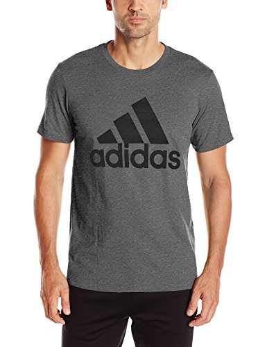 adidas Mens Badge of Sport Graphic Tee, Dark Grey Heather/Black, Medium