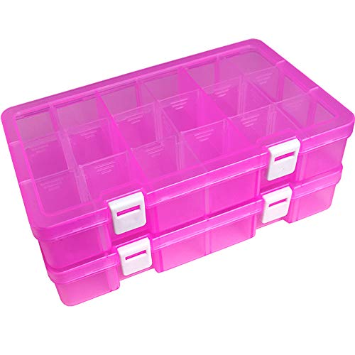 DUOFIRE Plastic Organizer Container Storage Box Adjustable Divider Removable Grid Compartment for Jewelry Beads Earring Tool Fishing Hook Small Accessories(18 grids, Pink X 2)